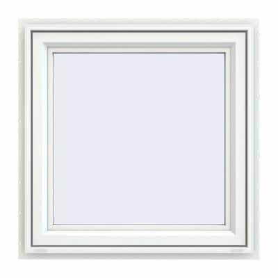 29.5 in. x 29.5 in. V-4500 Series White Vinyl Awning Window with Fiberglass Mesh Screen