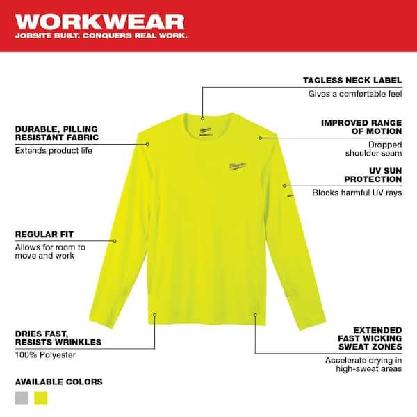 Milwaukee Men S Large Hi Vis Gen Ii Workskin Light Weight Performance Long Sleeve T Shirt 415hv L The Home Depot