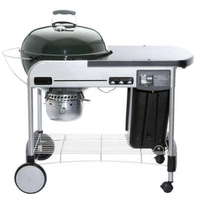 22 in. Performer Deluxe Charcoal Grill in Green with Built-In Thermometer and Digital Timer