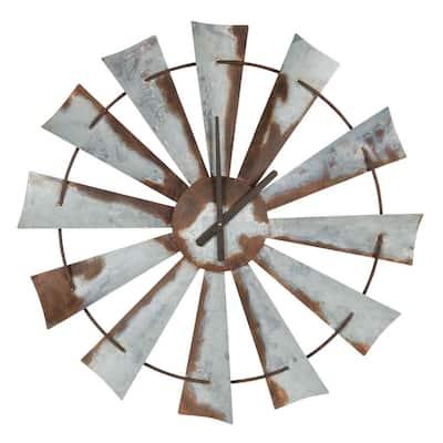 Millbrook Silver Farmhouse Windmill Wall Clock