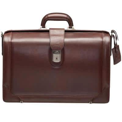 Beverly Hills Collection Brown Leather Luxurious Litigator Briefcase with RFID Secure Pocket for 17.3 in. Laptop