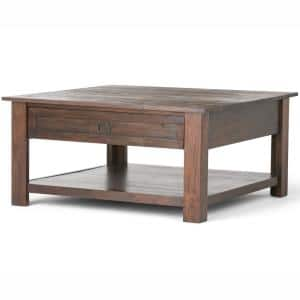 Sullivan 38 in. Distressed Charcoal Brown Medium Square Wood Coffee Table with Drawers