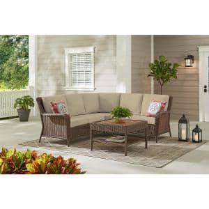 Cambridge 4-Piece Brown Wicker Outdoor Patio Sectional Sofa and Table with CushionGuard Putty Tan Cushions