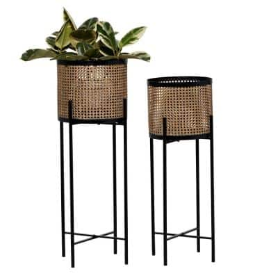 Brown and Black Metal Indoor Planters with Stand and No Drainage Holes (Set of 2)