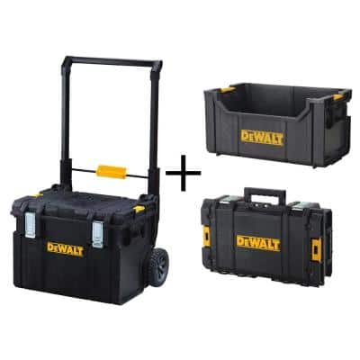 TOUGHSYSTEM 22 in. 17 Gallon Mobile Tool Box with 24 in. Small Tool Box and Tote Tool Box (3-Piece Set)