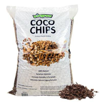 1.75 cu. ft. Coco Coir Chips, Premium Reptile Substrate Bedding 52 qt. / 50 L / 13 Gal.