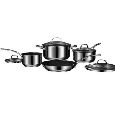 The Rock 8-Piece Stainless Steel Nonstick Cookware Set with Lids in Silver