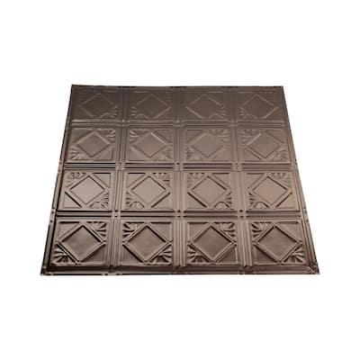 Ludington 2 ft. x 2 ft. Nail Up Metal Ceiling Tile in Bronze Burst (Case of 5)