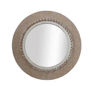 Medium Round Brown Classic Mirror (23.5 in. H x 23.5 in. W)
