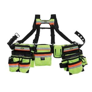 Hi-Visibility 3-Bag Framer's Tool Belt with Suspenders Suspension Rig with 29-Pockets
