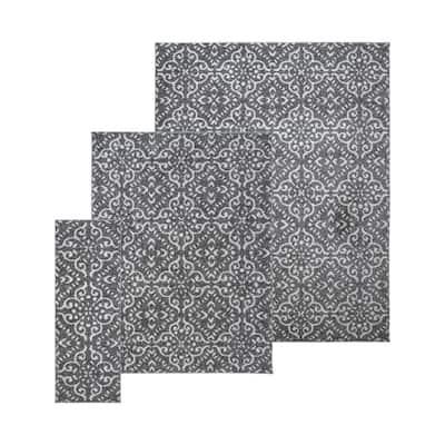 Barcelona Lanza Gray 8 ft. x 10 ft. Trellis 3-Piece Rug Set