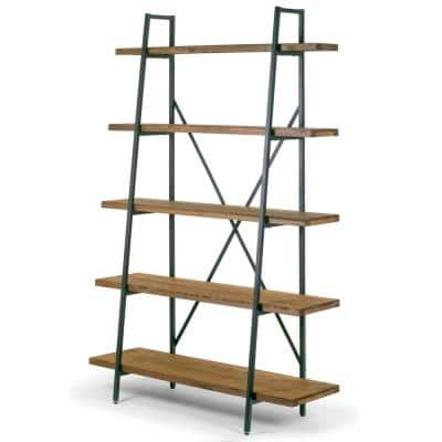 71.5 in. Brown/Black Metal 5-shelf Etagere Bookcase