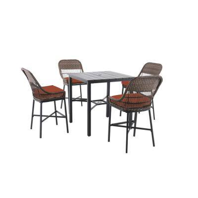 Beacon Park 5-Piece Brown Wicker Outdoor Patio High Dining Set with CushionGuard Quarry Red Cushions