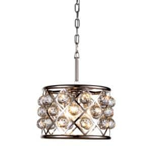 Timeless Home 12 in. L x 12 in. W x 9 in. H 3-Light Polished Nickel with Clear Crystal Contemporary Pendant