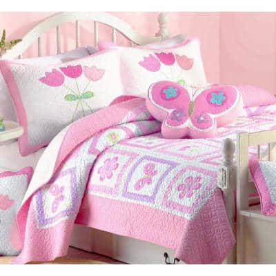 Floral Butterfly Garden Blooms Tulip Daisy 2-Piece Pink Purple Green White Cotton Twin Quilt Bedding Set