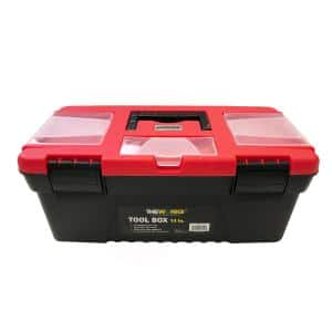14 in. Tool Box with Lid Organizers and Removable Tool Tray