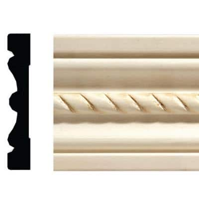 1433-7 1/2 in. x 3 in. x 84 in. White Hardwood Embossed Rope Casing Moulding