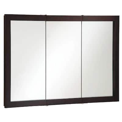 Ventura 48 in. x 30 in. x 6 in. Surface-Mount Tri-View Bathroom Medicine Cabinet in Espresso