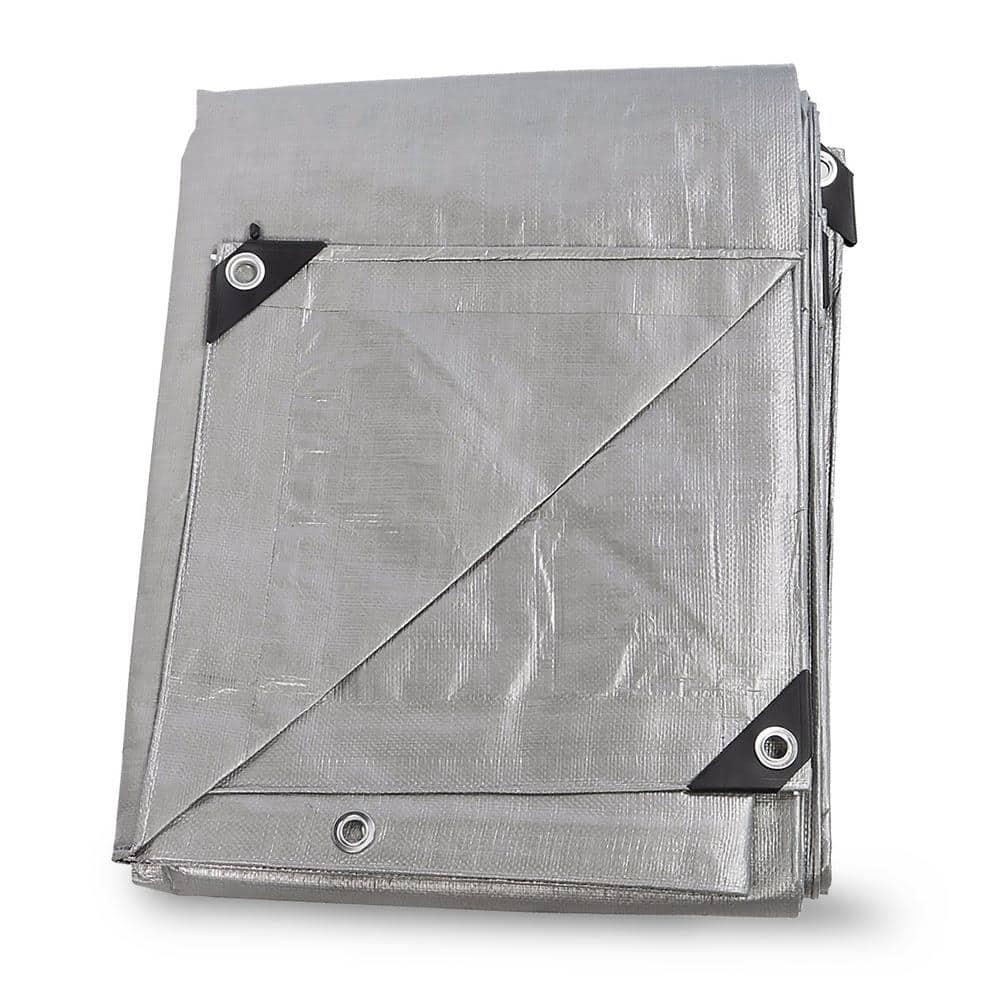 Tarpaulin 200gsm Heavy Duty Grey For Trampoline Waterproof Cover Plus 6 BUNGEES