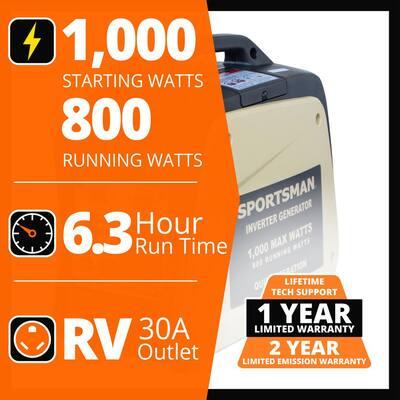 1,000-Watt Recoil Start Gasoline Inverter Generator for Sensitive Electronics