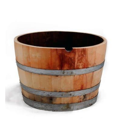 Half 27 in. W and 16 in. H Oak Wine Barrel Planter