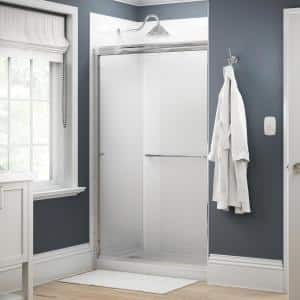 Simplicity 48 in. x 70 in. Semi-Frameless Traditional Sliding Shower Door in Chrome with Droplet Glass