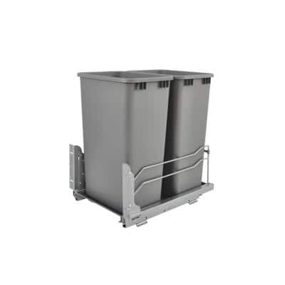 22.88 in. H x 14.75 in. W x 22.25 in. D Double 50 Qt. Pull-Out Silver Waste Container with Soft-Close Slides