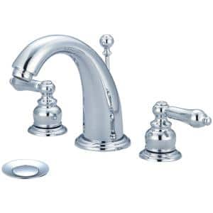 Brentwood 8 in. Widespread 2-Handle Bathroom Faucet with Drain in Polished Chrome
