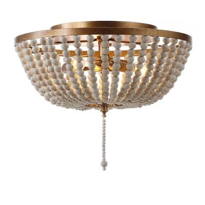 Allison 15 in. Wood Beaded/Metal LED Flush Mount, Antique Gold / Cream