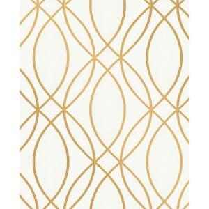 Lisandro Gold Geometric Lattice Vinyl Peelable Wallpaper (Covers 56.4 sq. ft.)