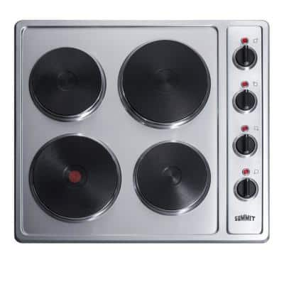 24 in. Solid Disk Electric Cooktop in Stainless Steel with 4 Elements