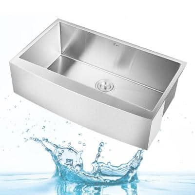 33 in. x 20 in. Stainless Steel Laundry/Utility Sink Handmade Apron Front Double Bowl with Basket Strainer