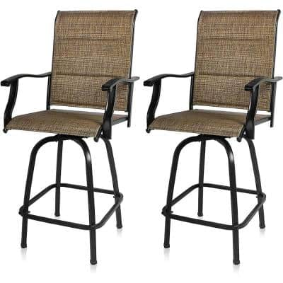 Swivel Metal Frame Outdoor Bar Stools Padded Textilene High Patio Chairs with Arm Support (Set of 2)