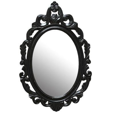 Victoria 23.25 in. x 15.25 in. Classic Oval Framed Black Vanity Mirror