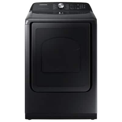 7.4 cu. ft. Smart Brushed Black Gas Dryer with Steam Sanitize