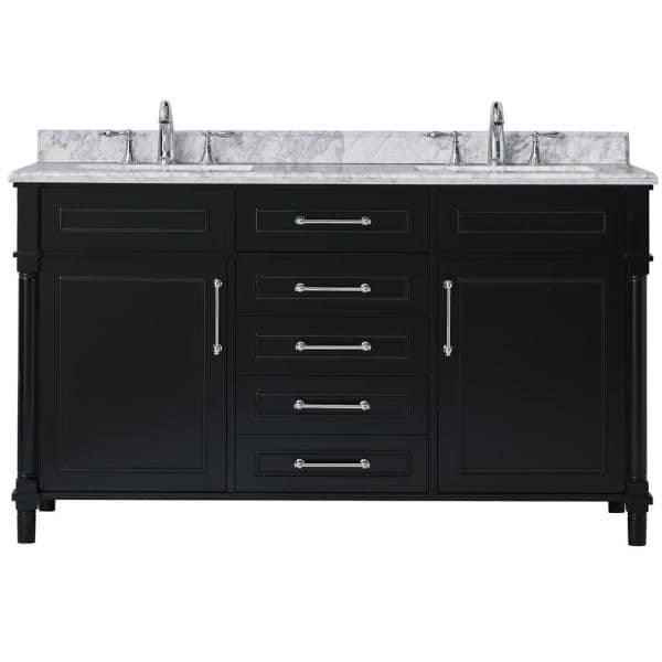 Home Decorators Collection Aberdeen 60 In W X 22 In D Vanity In Black With Carrara Marble Top With White Sinks Aberdeen 60b The Home Depot