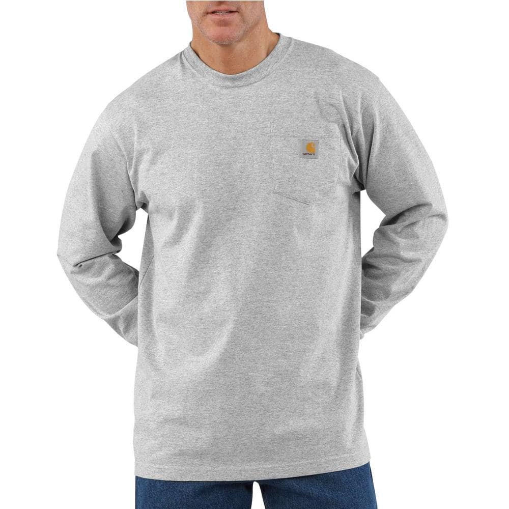 Carhartt Men S 5x Large Heather Gray Cotton Polyester Workwear Pocket Long Sleeve T Shirt K126 Hgy The Home Depot