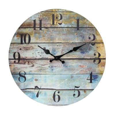 Brown Vintage Farmhouse Wooden 14 Inch Round Hanging Battery Operated Wall Clock