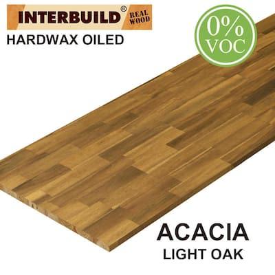 Acacia 8 ft. L x 25 in. D x 1 in. T Butcher Block Countertop in Light Oak Stain