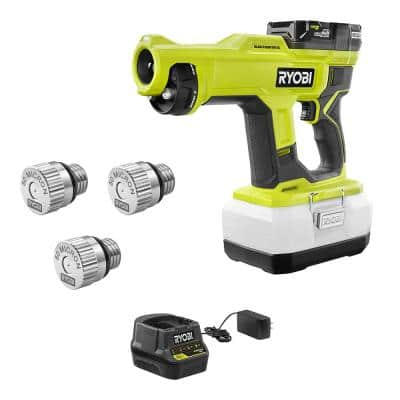 ONE+ 18V Cordless Handheld Electrostatic Sprayer Kit with Battery, Charger, and 50 Micron Replacement Nozzle (3-Pack)