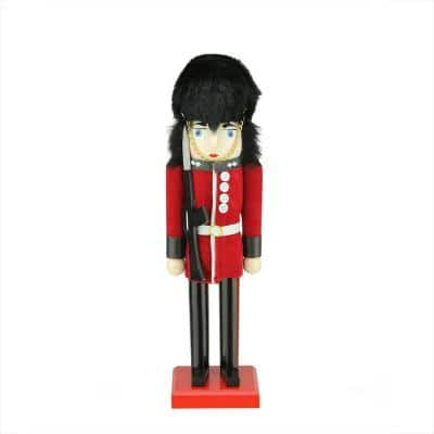 14 in. Decorative Wooden Red and Black Royal Guard Christmas Nutcracker