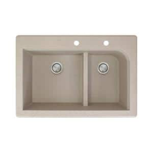 Transolid Radius Drop In Granite 33 In 1 Hole 1 3 4 Offset Double Bowl Kitchen Sink In Cafe Latte Rtdo3322 16 The Home Depot