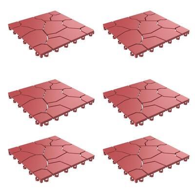 11.5 in. x 11.5 in. Brick Red Outdoor Interlocking Brick Look Polypropylene Patio and Deck Tiles (Set of 12)