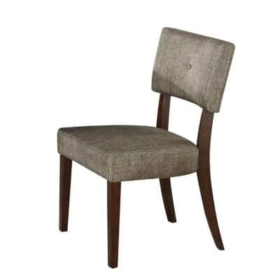 Grey Fabric Wooden Side Chair (Set of 2)