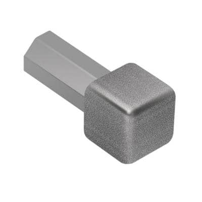 Quadec Pewter Textured Color-Coated Aluminum 7/16 in. x 1 in. Metal Inside/Outside Corner
