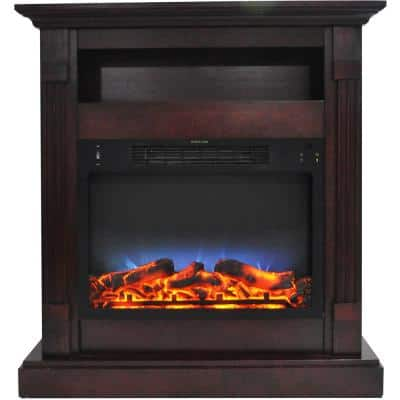 Drexel 34 in. Electric Fireplace with Enhanced Log Display and Mahogany Mantel