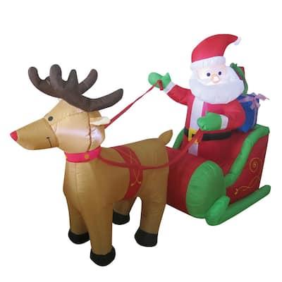 6 ft. Santa in One Reindeer Sleigh Airblown