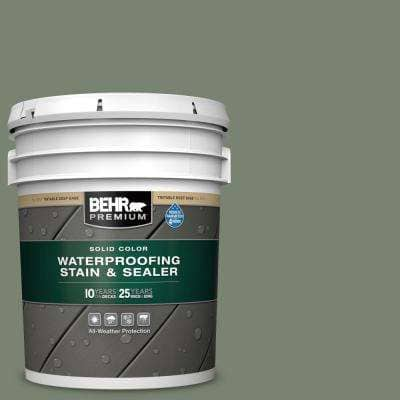 5 gal. #ICC-77 Sage Green Solid Color Waterproofing Exterior Wood Stain and Sealer