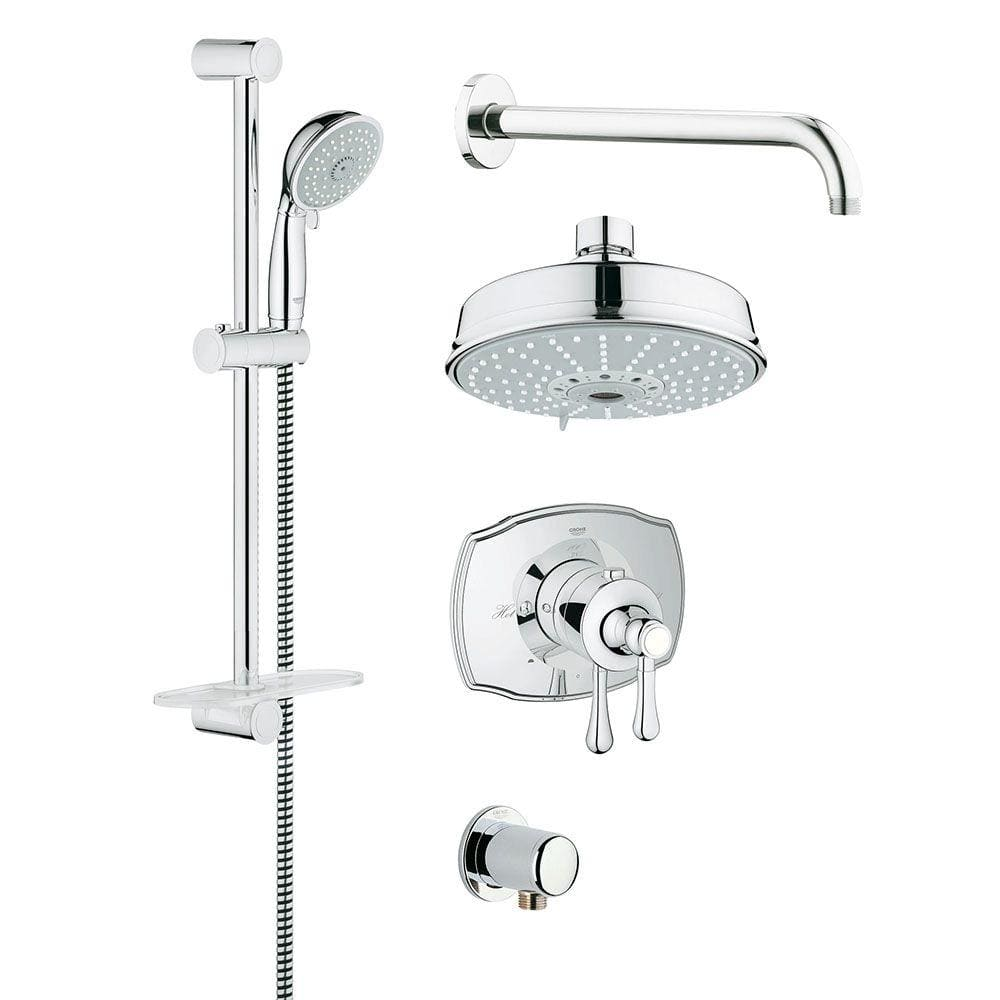 GROHE GrohFlex Authentic 20 Spray Handheld Shower and Shower Head Combo Kit  in StarLight Chrome 350520000   The Home Depot