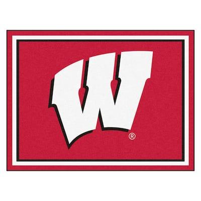 NCAA - University of Wisconsin Red 10 ft. x 8 ft. Indoor Rectangle Area Rug